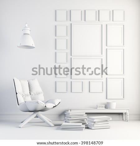 3d render of beautiful white interior - stock photo