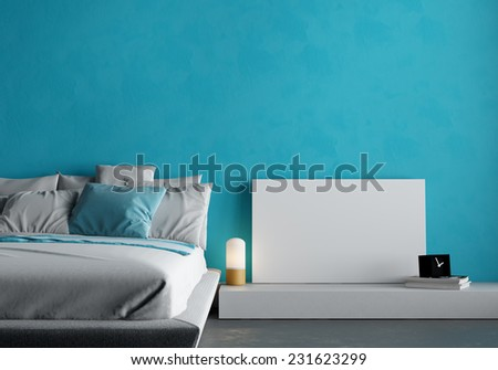 3d render of bedroom with bed, frame and lamps