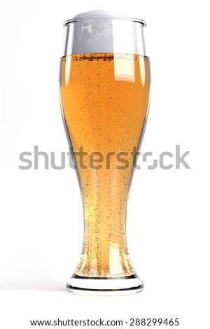 3d render of beer in glass - stock photo