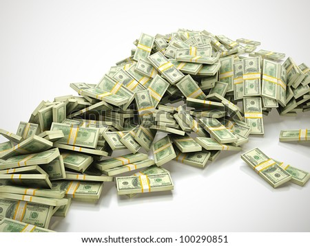 3d render of big heap of money on white background - stock photo