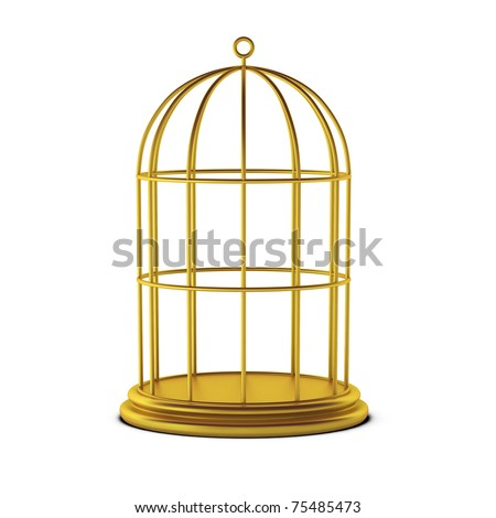 3d render of bird cage - stock photo