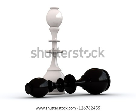 3d render of black and white chess kings