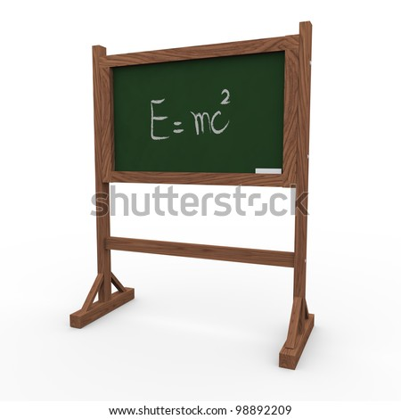 3d render of black board with physics theory. - stock photo