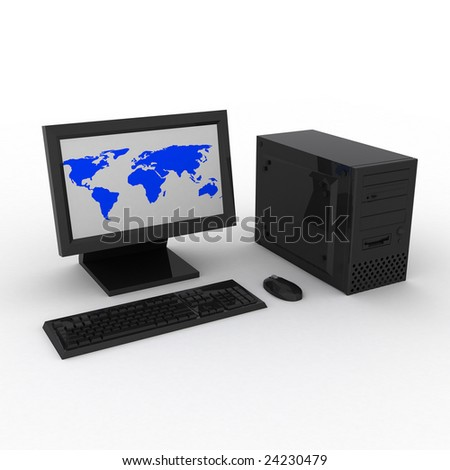 3d render of black computer with earth.