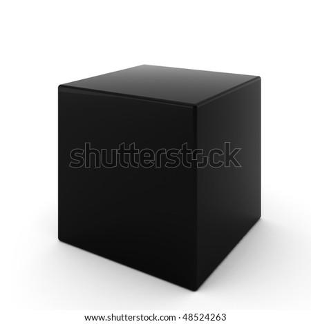 3d render of black cube on white - stock photo