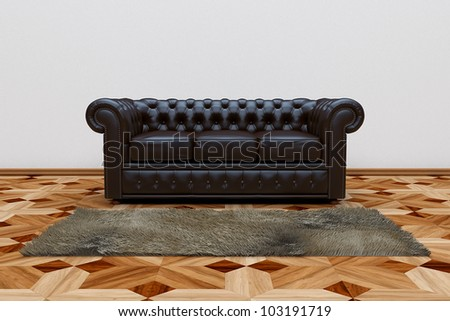 3D render of black leather sofa and brown carpet on wooden parquet. - stock photo