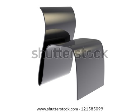 3d render of Black plywood Chair isolated on a white background - stock photo