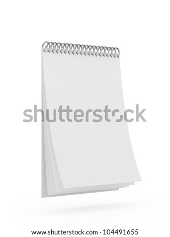 3d render of blank calendar isolated on white background - stock photo