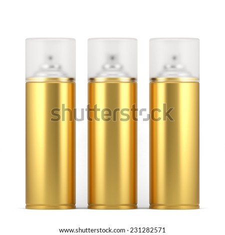 3d render of blank golden spray paint cans with cap. Isolated on white background - stock photo