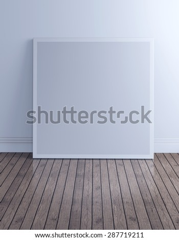 3d render of blank picture frame canvas on desk in loft room vintage design with clipping path, for use as mock-up template.