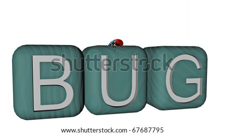 """3D render of blocks forming the word """"Bug"""", with a bug walking over - stock photo"""