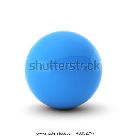 3d render of  blue ball on white - stock photo