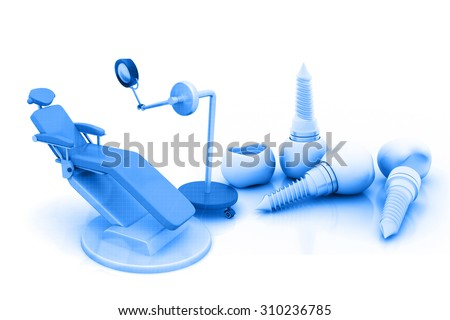 3d render of Blue Dental Chair	 - stock photo