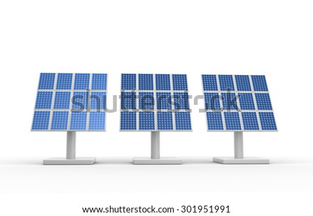 3d render of blue photovoltaic solar panels power plant using solar energy