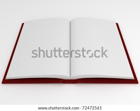 3d render of book with empty pages on white background - stock photo