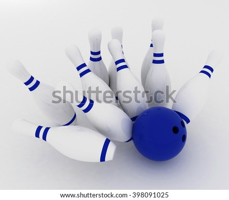 3d render of bowling ball crashing into the pins on white background - stock photo