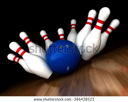 3d render of bowling ball hitting pins with added motion blur - stock photo