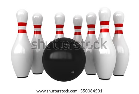 3d render of bowling pins and ball isolated over white background