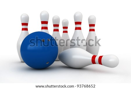 3d render of bowling pins and ball over white background - stock photo