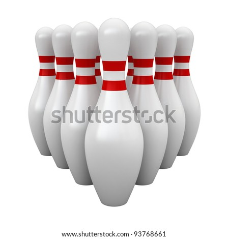 3d render of bowling pins isolated over white background