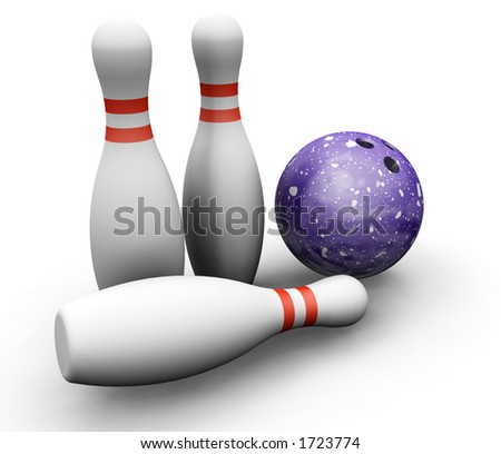 3D render of bowling skittles and ball