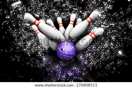 3D render of bowling skittles with a sparkle effect - stock photo