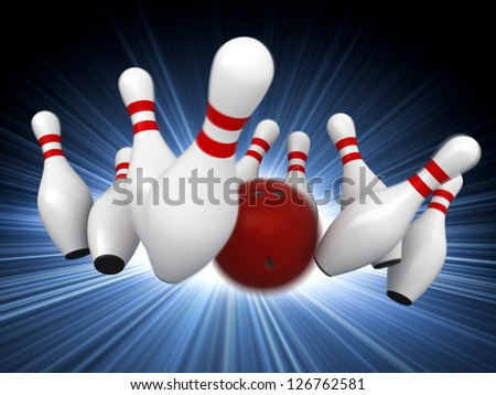 3d render of bowling strike with motion blur simulation - stock photo
