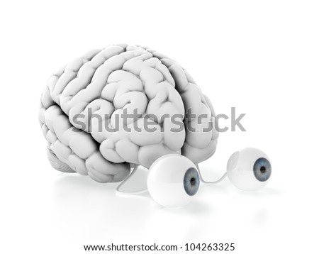 3d render of brain with eyes on white background - stock photo