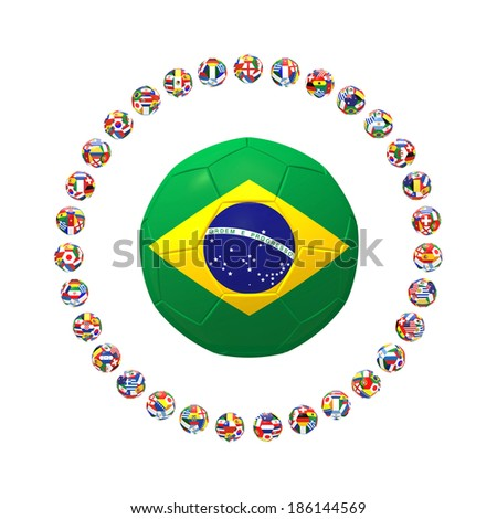 3D render of Brazilian football surrounded by group of 32 footballs on white background