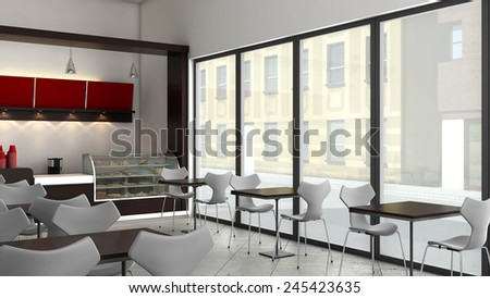 3D render of bright coffee shop interior