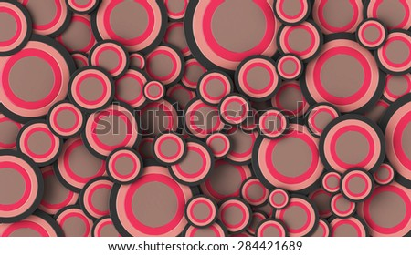 3D render of brown and green circles of various sizes