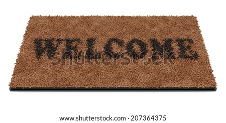 3d render of brown coir doormat with text Welcome isolated on white background  - stock photo