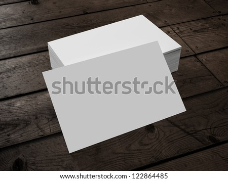 3d render of Business Card on Wood - stock photo