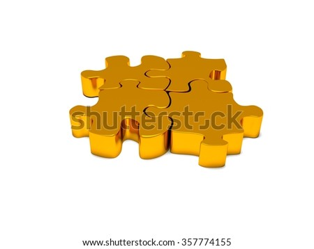 3d render of business connection. Connected gold puzzle pieces  - stock photo