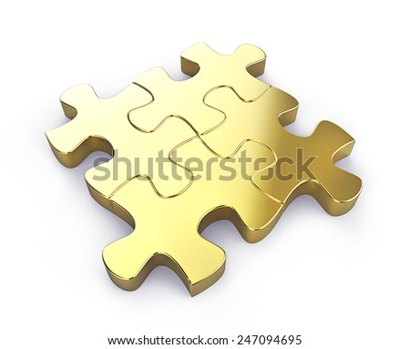 3d render of business connection. Connected gold puzzle pieces isolated on a white background. - stock photo