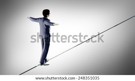 3d render of businessman walking on a tightrope  - stock photo