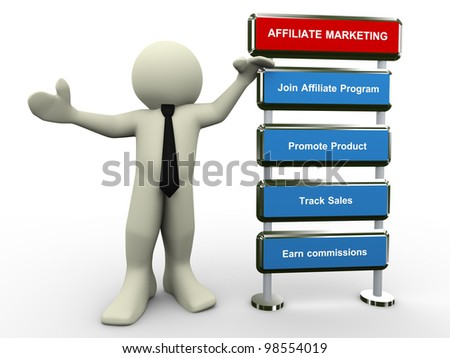 3d render of businessman with affiliate marketing process. - stock photo