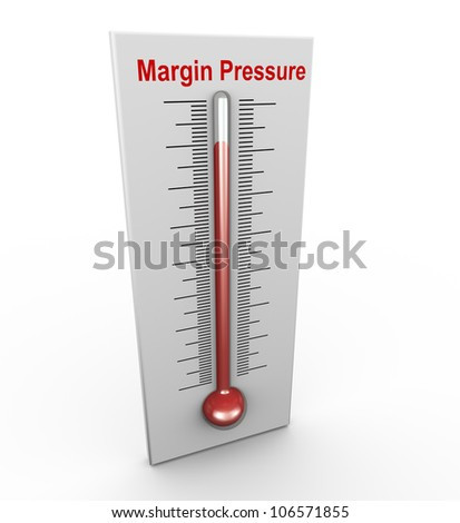 3d render of buzzword margin pressure thermometer