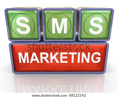 3d render of buzzword sms marketing - stock photo