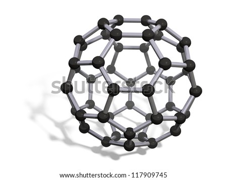 3d render of C50 carbon fullerene with soft shadow isolated on white - stock photo