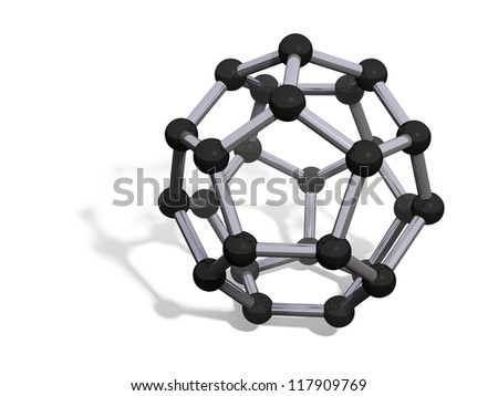 3d render of C26 carbon fullerene with soft shadow isolated on white