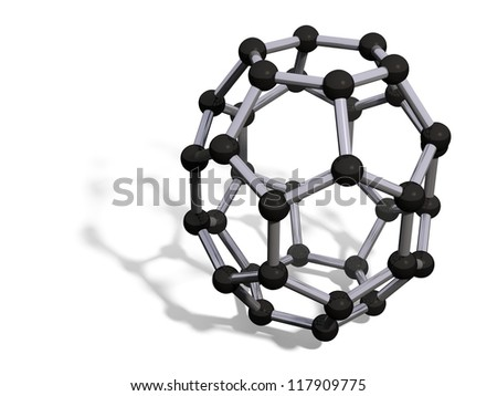 3d render of C36 carbon fullerene with soft shadow isolated on white