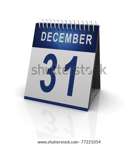 3d render of calender with 31 december date