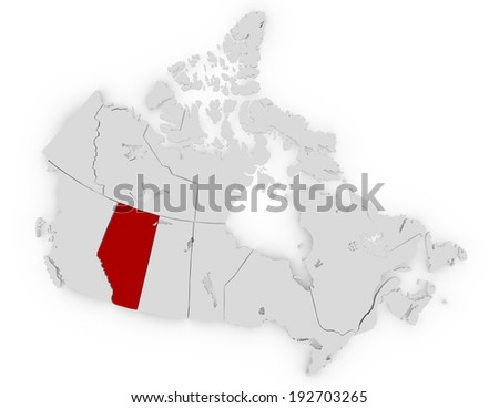 3d Render of Canada Highlighting Alberta - stock photo