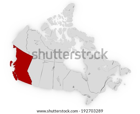 3d Render of Canada Highlighting British Columbia - stock photo