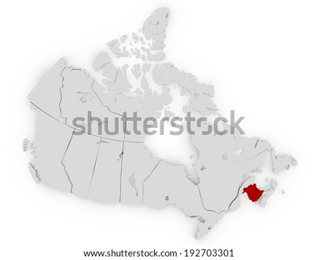 3d Render of Canada Highlighting New Brunswick - stock photo