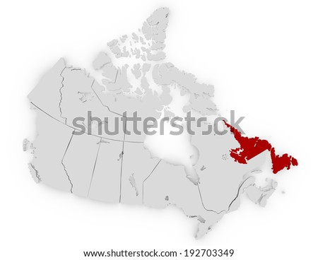 3d Render of Canada Highlighting Newfoundland and Labrador