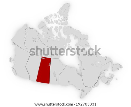3d Render of Canada Highlighting Saskatchewan
