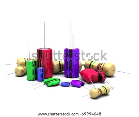 3D Render of Capacitors Resistors and semi-conductors - stock photo