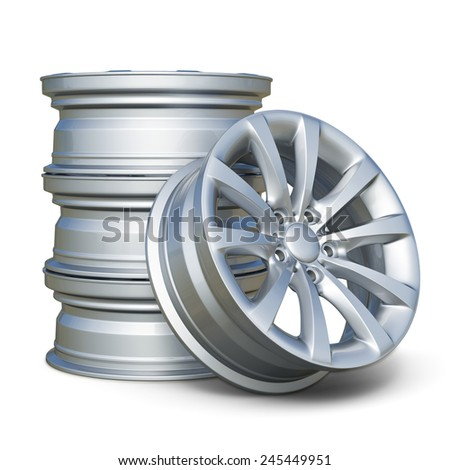 3d render of car alloy tyre rims isolated on white background - stock photo